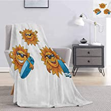 Tr.G Cartoon Luxury Special Grade Blanket Surf Sun Characters Wearing Shades and Surfboards Fun Hippie Summer Kids Design Multi-Purpose use for Sofas etc. W54 x L72 Inch Orange White