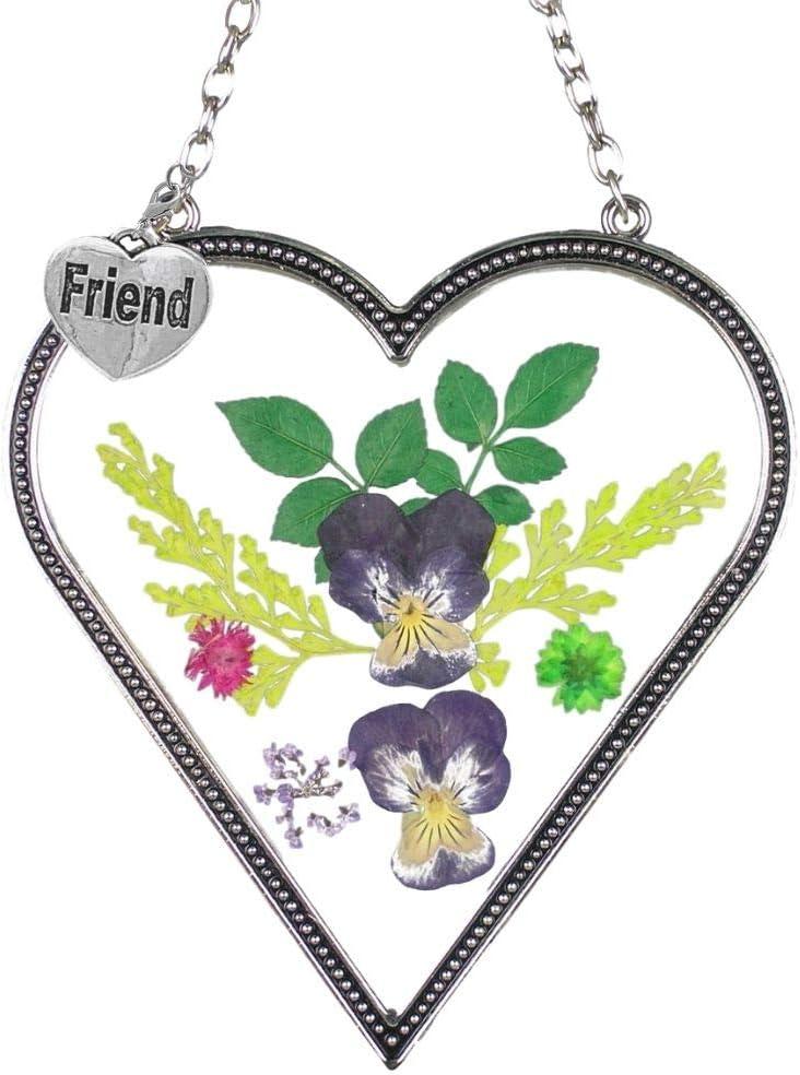 BANBERRY DESIGNS Friend Heart price Suncatcher - Washington Mall Pressed Ca Flower Sun