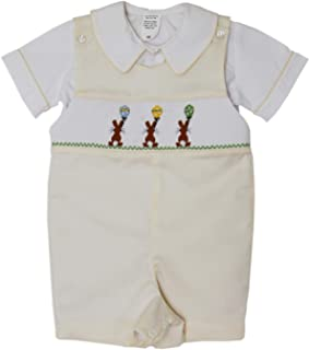 Baby Boys Easter Bunny Shortall with Hand Smocked Balloons