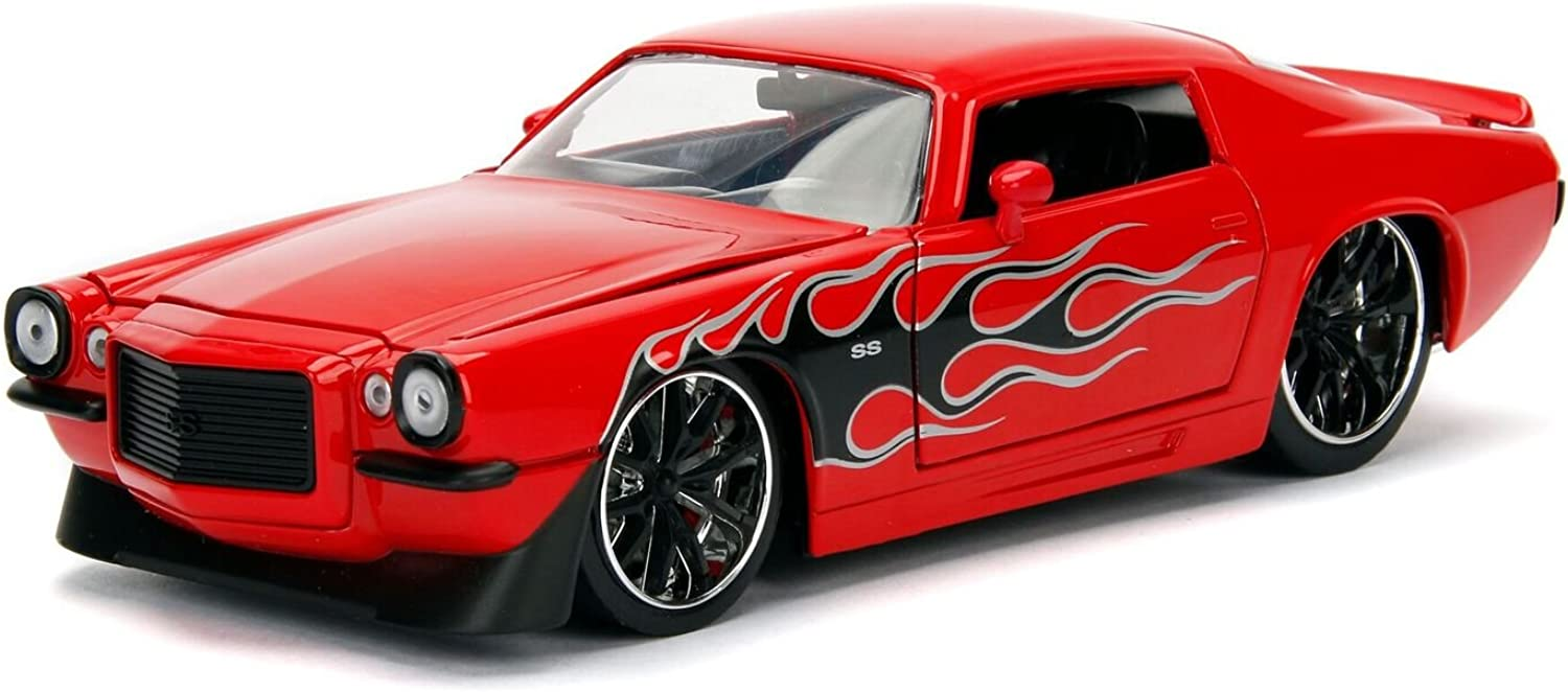 1971 Chevrolet Camaro SS Red with Flames 1 24 Diecast Model Car by Jada 99969