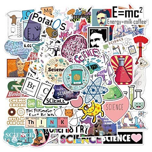 Science Laboratory Stickers, 50pcs Waterproof Vinyl Stickers Pack for Hydro Flask Water Bottles Skateboard Laptop Phone Computer Guitar, Physics Chemistry Biology Experiment Sticker Decals