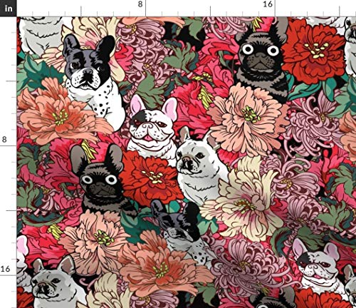 Spoonflower Fabric - French Bulldog Frenchie Florals Pink Red Flowers Dogs Puppy Printed on Petal Signature Cotton Fabric by The Yard - Sewing Quilting Apparel Crafts Decor