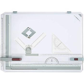 Cocoarm Multifuktionales A3 Zeichenbrett Tischpad Zeichenplatte Zeichentisch mit Parallelen Bewegungen und Linealen mit Einstellbarem Winkel