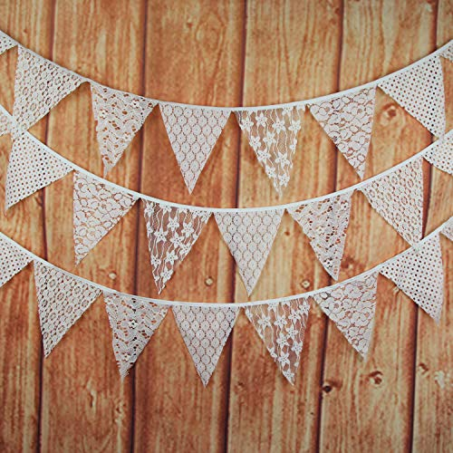 INFEI 3M/9.8Ft Mixed White Lace Fabric Flags Bunting Banner Garlands for Wedding, Birthday Party, Outdoor & Home Decoration (Off-White)
