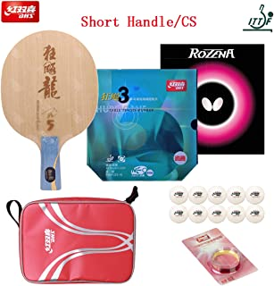 DHS Hand-Assembled, Hurricane Long 5 Ping Pong Racket Blade, Neo Blue-Sponge Hurricane 3 (Provincial) and Butterfly Rozena Ping Pong Racquets Rubber