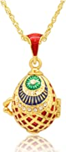 MYD Jewelry Hand Enamel Fish Shaped Easter Russian Locket Faberge Egg Pendant Necklace