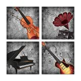 HOMEOART Music Wall Art Black and White Musical Instrument Painting Picture Print on Canvas Gallery Wrap Ready to Hang (12x12inchx4Pcs)