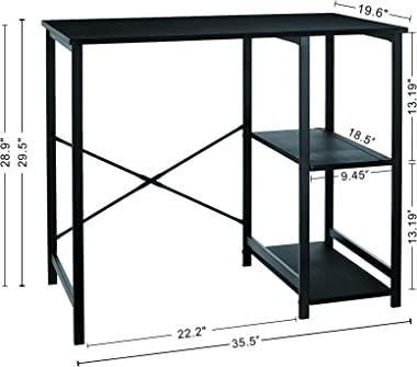 Amazon Basics Classic Home Office Computer Desk With Shelves - 29.5 x 19.6 x 35.5 Inches, Black