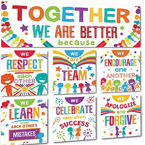 Sproutbrite – Conjunto de quadro de recados e pôster para decoração de banner de sala de aula – Together We Are Better