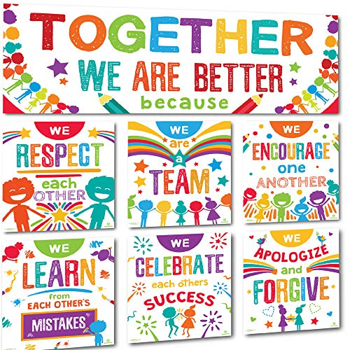 Sproutbrite Classroom Banner Decorations and Poster Bulletin Board Set - Together We are Better (Welcome Back To School Library Bulletin Boards)