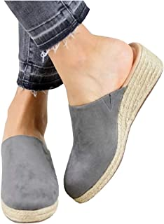 Ruanyu Womens Slip On Mules Espadrille Wedges Closed Toe Backless Slide Sandals