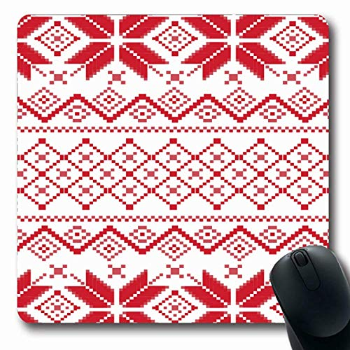 Jamron Mousepad OblongTiles Greeting Seamless Winter Pixel Geometric Pattern Pastiche Abstract Fashion Holiday Textures Non-Slip Rubber Mouse Pad Office Computer Laptop Games Mat
