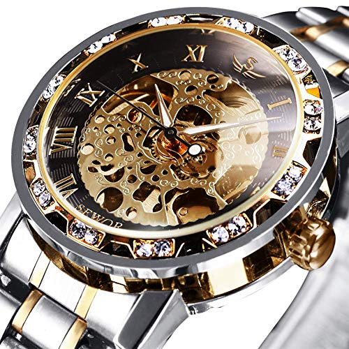 Uhren, Herrenuhren Mechanische Skelett Steampunk Glasboden Römische Zahlen Zifferblatt Wasserdicht Männer Armbanduhr mit Edelstahl Armband Gold