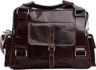 European and American Men's First Layer Cowhide Big Crossbody Bag, Western Retro Leather Business Shoulder Bag, Small Body Large Capacity, Reasonable Internal Personality Punk (Color : Beige)