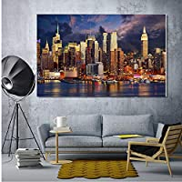 マンハッタンの夜景ウォールアートポスターキャンバスポスターとプリント寝室の絵画家の装飾のための装飾的な写真
