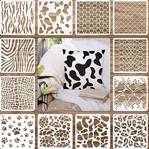 12 Plantillas de Estampado Animal Plantillas de Pintura de Arte Plantillas de Diseño de Bricolaje para Colección de Recortes Dibujo Calco Mueble Piso Pared (7,87 x 7,87 Pulgadas)