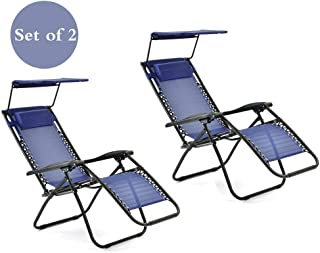 ALI VIRGO Folding Zero Gravity Reclining Lounge Chairs Outdoor Beach Patio with Adjustable Canopy Shade Pillows for Poolside Backyard and Garden Set of 2, Cool Blue