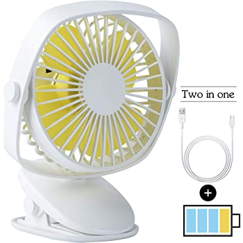 Color : White USB Table Desk Personal Fan USB Mini Fan with LED Lamp Rechargeable Desktop Baby Carriage Mute Portable Student Dormitory Bed Head Clip Fan for Home Office Table