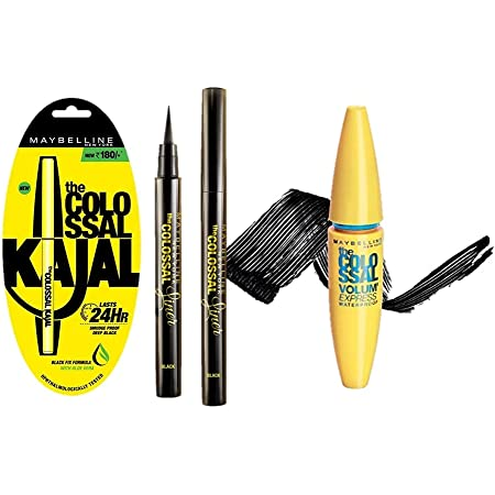 Maybelline New York The Colossal Liner, 1.2ml (Black) And Maybelline New York Colossal Kajal, Black, 0.35g And Maybelline New York Volume Express Colossal Masacara, Waterproof, Black, 10 ml