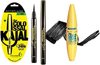 Maybelline New York The Colossal Liner, 1.2ml (Black) And Maybelline New York Colossal Kajal, Black, 0.35g And Maybelline ...