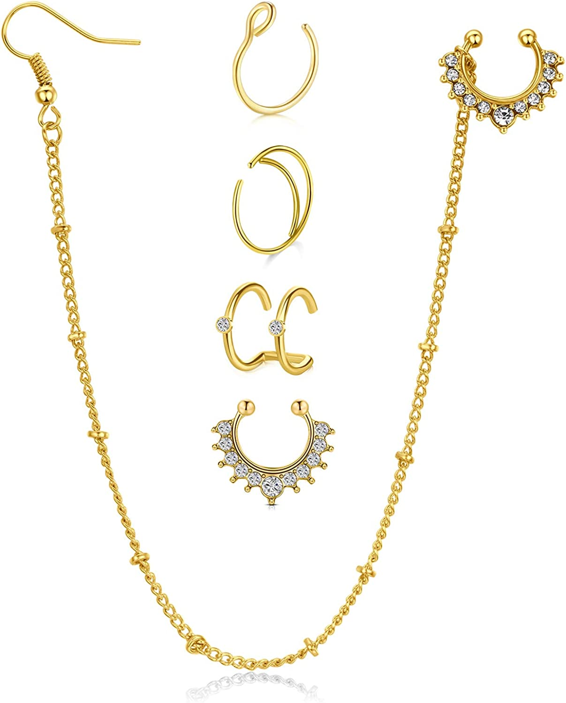 MODRSA Fake Septum Rings Indian Septum Nose to Ear Chain Dangle Earrings Faux Moon Nose Rings Hoop Non Pierced Clip on Septum Jewelry Ear Cuff Earrings Lip Tragus Cartilage Helix Earrings Hoop