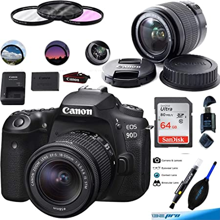 Canon EOS 90D Digital SLR Camera Body with EF-S 18-55mm f/3.5-5.6 is STM Lens - 64GB Expo Basic Bundle (International Version)