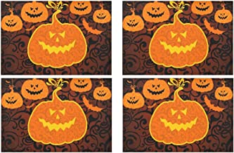 Happy Halloween Yellow Pumpkin Kitchen Printed Stain Resistant Heat Insulation Washable Square Table Mat Placemat for Baby and Women's Round Dinning Table 12 X 18 Set of 4 Pcs