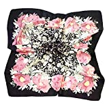 TONY & CANDICE Women's Graphic Print 100% Silk, Silk Scarf Square, 33X33 Inches (New White Pink Flowers)