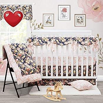 Brandream Shabby Ruffled Floral Baby Girl Crib Bedding Sets Vintage Farmhouse Country Style Nursery Bedding Set Blush Navy 100% Cotton 7PCS
