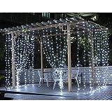 LE Cortina de Luces LED con Enchufe 3x3m 306 LED, Luz Decorativa Interior y Exterior Blanco Frío, Impermeable, Cadena de Luces 8 Modos Luz, Decoración de Dormitorio, Navidad, Fiestas, Bodas, Jardín