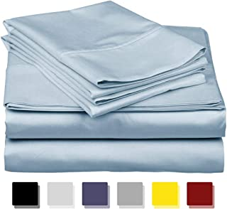 Mega Sale on Amazon King Size Sheets Luxury Soft 600-TC Egyptian Cotton - Sheet Set for King Size (76x80) Mattress Fits 21-23 Inches Fully Elastic Deep Pocket (Solid, Light Blue)