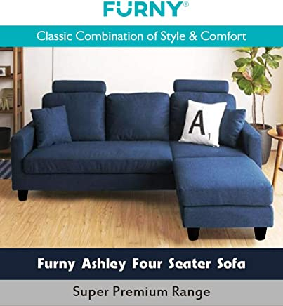 Furny Ashley 3+1 Ottoman Four Seater L Shape Interchangeable Sofa (Dark Blue)