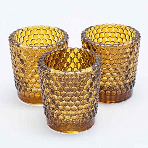 Richland Votive Candle Holders Hobnail Amber Set of 12