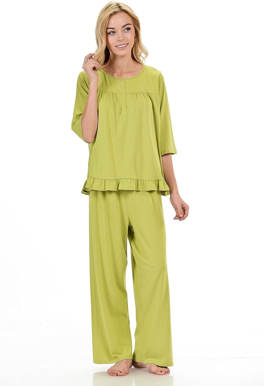 Bamboosa Women's Nightgown Set 67% Viscose from Organic Bamboo & 28% Organic Cotton 5% Lycra Made US