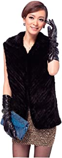 Women's 100% Real Knitted Mink Fur Vest with Mink Collar