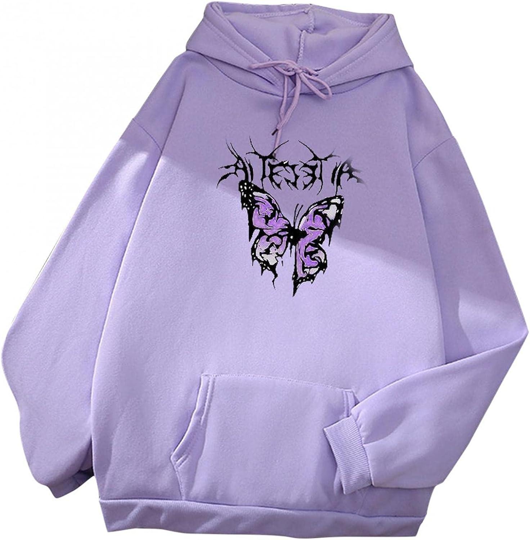 Women's Cute Hooded Sweatshirts Cartoon Butterfly Print Long Sleeve Hoodie Pullover Drawstring Tops