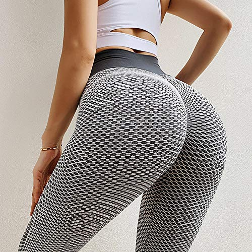 A/X Women's High Waist Yoga Pants Ruched Butt Lifting Jacquard Leggings White Black Purple Spandex Gym Workout Running Fitness Sports Activewear High Elasticity Skinny