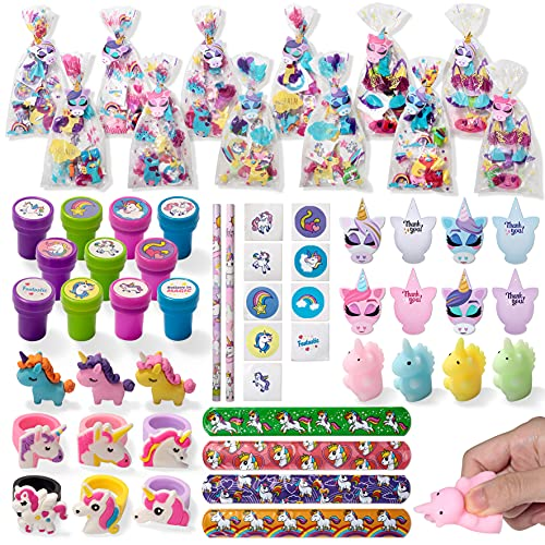 Unicorn Party Favors Set, 12 Pack Prefilled Goody Bags with Gift Tags