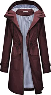 Women's Raincoats Windbreaker Rain Jacket Waterproof Outdoor Hooded Trench Coats