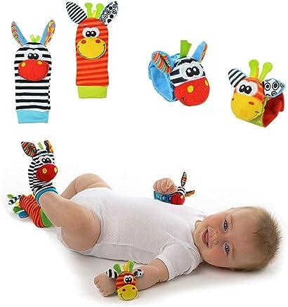 Lumanuby 4 Pcs/Set Soft Baby Toy Wrist Rattle Strap Socks Cute Donkey Monkey Panda Dog Cartoon Garden Bug Plush Rattle With Ring Bell Promote Baby's Vision, Hearing And Intelligence Development