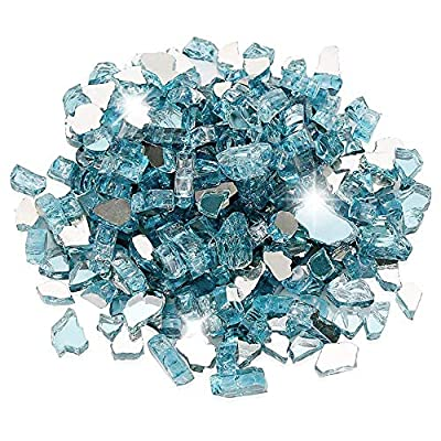 Utheer Aqua Blue Reflective Fire Glass 10 Pounds 1/2 Inch for Indoor Outdoor Natural Propane Fireplaces Fire Pit Fire Bowls Vase Fillers Garden Landscape Decorative, High Luster Tempered Glass Rocks