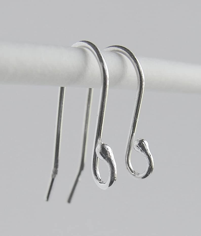 .925 Sterling Silver Ear Wire with 2 mm Ball ~ 20 pcs/10 Pairs French Hook Earring ~ Wire 0.8 mm/AWG 21 Gauge ~ Size 14 x 23 millimeters by BEEZZY BEEDZ (Bonus - 10 Pairs Plastic Ear Nuts)