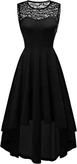 Women's Vintage Lace Sleeveless Hi-Lo Cocktail Party Pleated Swing Dress Bridesmaid Prom Dress