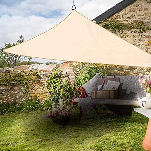 Pakopjxnx Triangle Anti-UV Sun Shade Sail Outdoor Patio Party Sunscreen Canopy Sunsail,Cream,5x5x5m