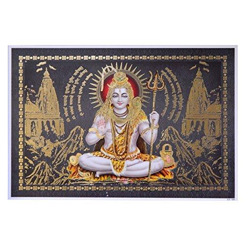 Bild Shiva 33 x 48 cm Gottheit Hinduismus Kunstdruck Plakat Poster Gold Indien Hochglanz Dekoration