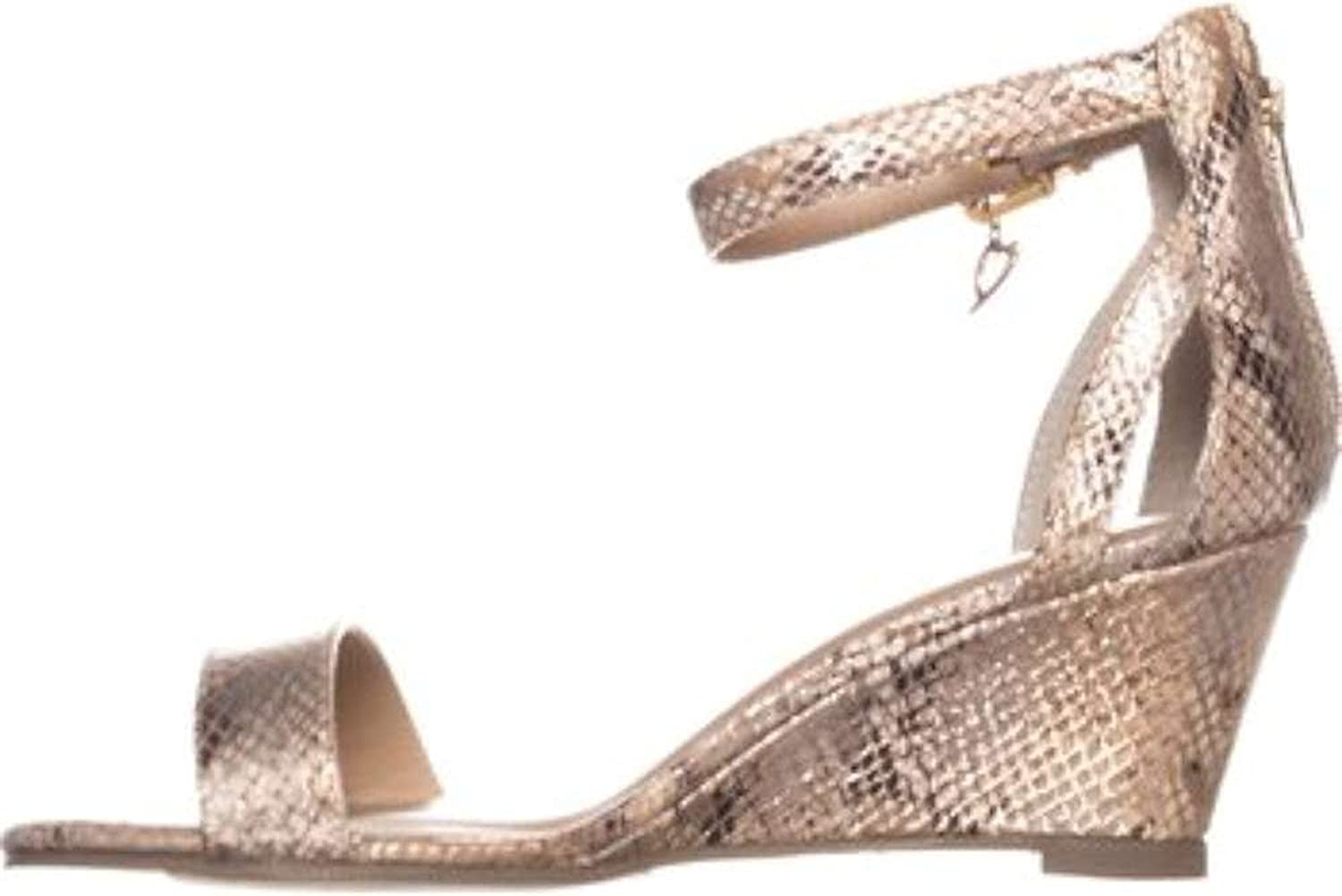 TS35 Areyana Ankle-Strap Wedge Sandals, Champagne Snake, 6 US