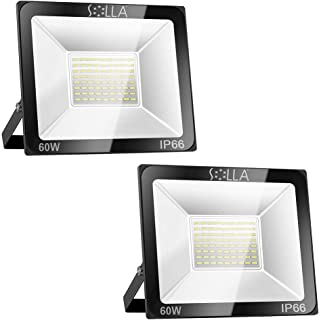 2 Pack SOLLA 60W LED Flood Light, 4800lm, IP66 Waterproof, 6000K Daylight White, Super Bright Outdoor Security Lights for Yard, Garage, Warehouse, Parking Lot, Garden