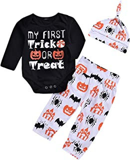 Halloween Newborn Baby Boy Clothes My First Halloween Pumpkin Romper with Hat and Long Pants Outfits Set 3Pcs