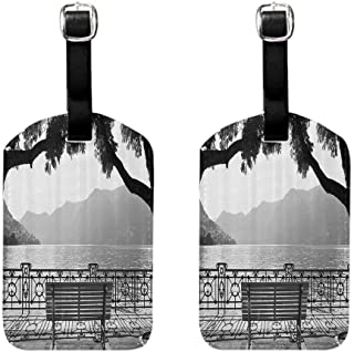 2 PCS Waterproof luggage tag Grey Romantic Scenery with a Bench by the Lake Outdoors Trees Empty Park View Mountain Range Protect personal privacy Grey