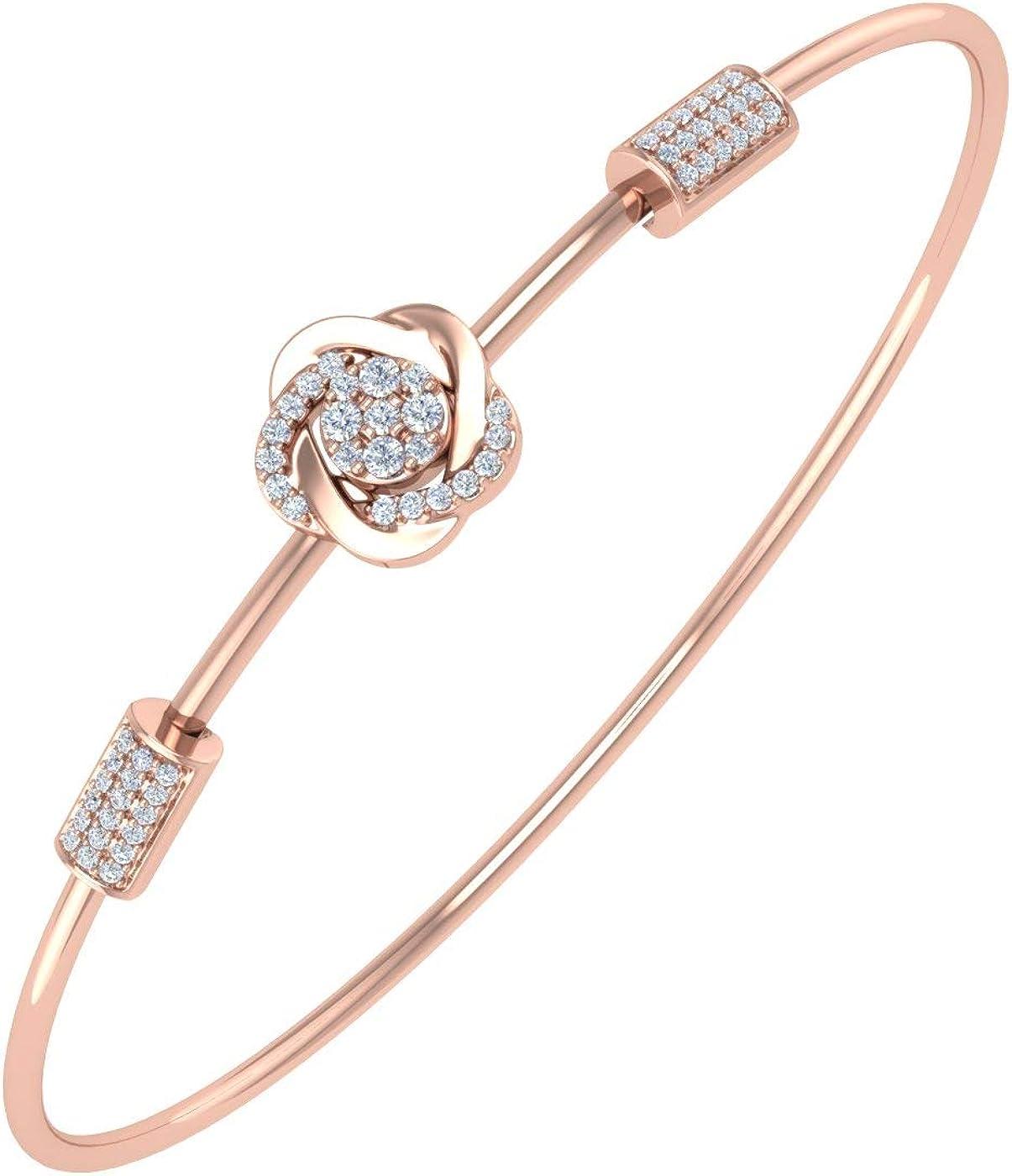1/5 Carat Diamond Floral Bangle Bracelet in 10K Gold or 14K Gold and Steel